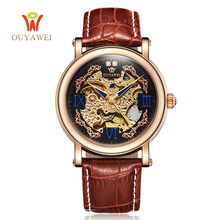 Automatical Mechanical Watches Men Luxury Brand Wrist Watch Male Clock Leather Wristwatch Men Skeleton Casual Business Watch