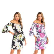 European And American Holiday Dress Off-the-shoulder Bell-Sleeve Package Hip Printed Summer women
