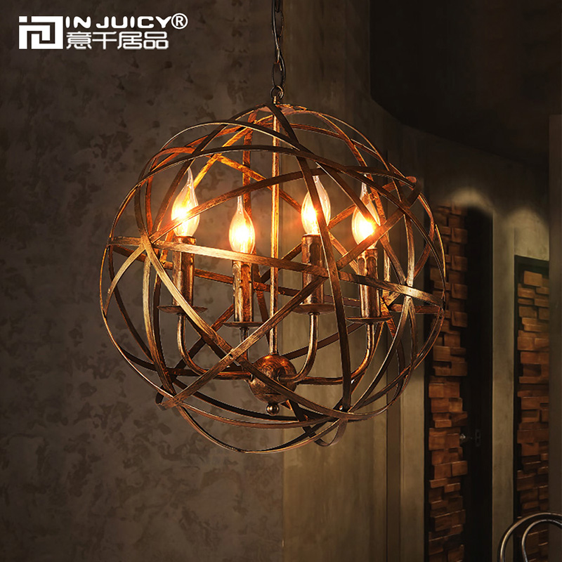 Loft Vintage Industrial Metal Iron Ball Pendant Lights Shades E14 Edison Pendant Lamps Fixtures Living Dining Rooms Bar Cafe