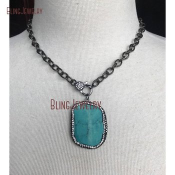 Gunmetal Pave Crystal Clasp Choker with Gunmetal Pave Turquoises Stone Pendant on Gunmetal Texturized Chain NM18730 фото