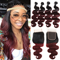 10A Ombre Virgin Brazilian Hair Weave Bundles with Lace Closure 1b/99J Burgundy Brazilian Virgin Hair Body Wave with Closure