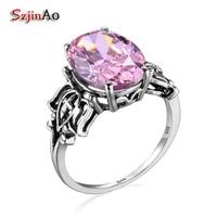 Szjinao Unieke Custom 100% 925 Zilver Zirkoon Roze Ringen Echte Oostenrijkse Kristallen Ring Fijne Sieraden Grote Order Prijs Groothandel