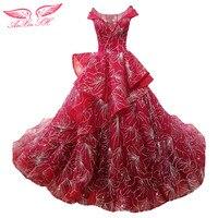 SH AnXin księżniczka czerwona suknia wieczorowa shinning big kwiat czerwony strój wieczorowy złoty red ruffles suknia wieczorowa 100% real zdjęcia