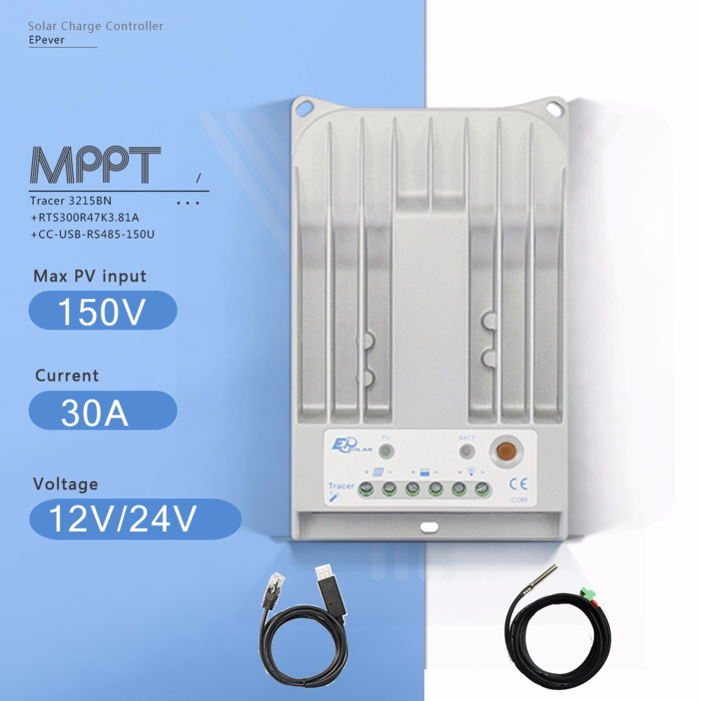 MPPT 30A Tracer3215BN Solar Charge Controller 12V 24V Auto Solar Panel Battery Charger with USB Cable and Temperature Sensor 30a mppt solar charge controller regulator tracer7810bp high efficiecny 12v 24v auto work with pc usb communication cable
