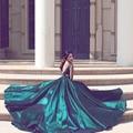 Arabic Dubai Backless Emerald Green Evening Dresses Long High Quality Luxury Rhinestone Crystal Evening Formal Dress Gowns