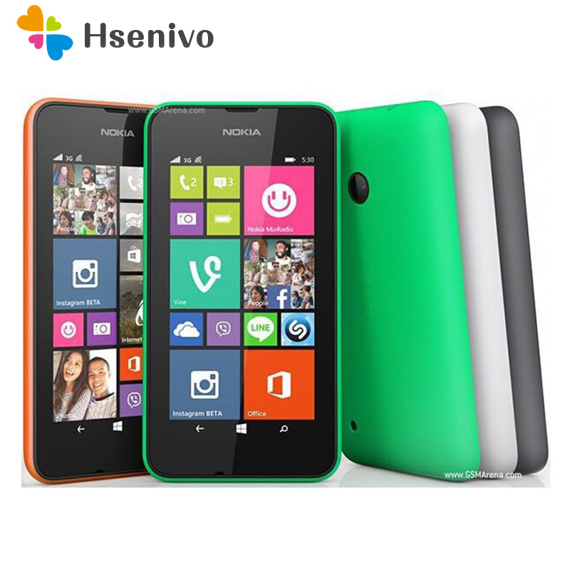 Nokia Lumia 530 Original Windows Phone 8.1 4.0 Quad Core Dual SIM 4GB ROM 5MP Camera 3G WCDMA Wifi GPS refurbished image