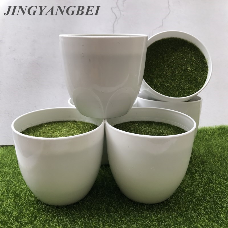 White Round Plastic Flower Pot Plant Vase Simple Moderm Flowerpot With Moss Foam Floral Arrangement Accessories Home Decoration