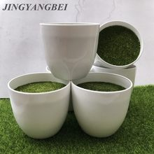 White Round Plastic Flower Pot Plant Vase Simple Moderm Flowerpot With Moss Foam Floral Arrangement Accessories home decoration(China)