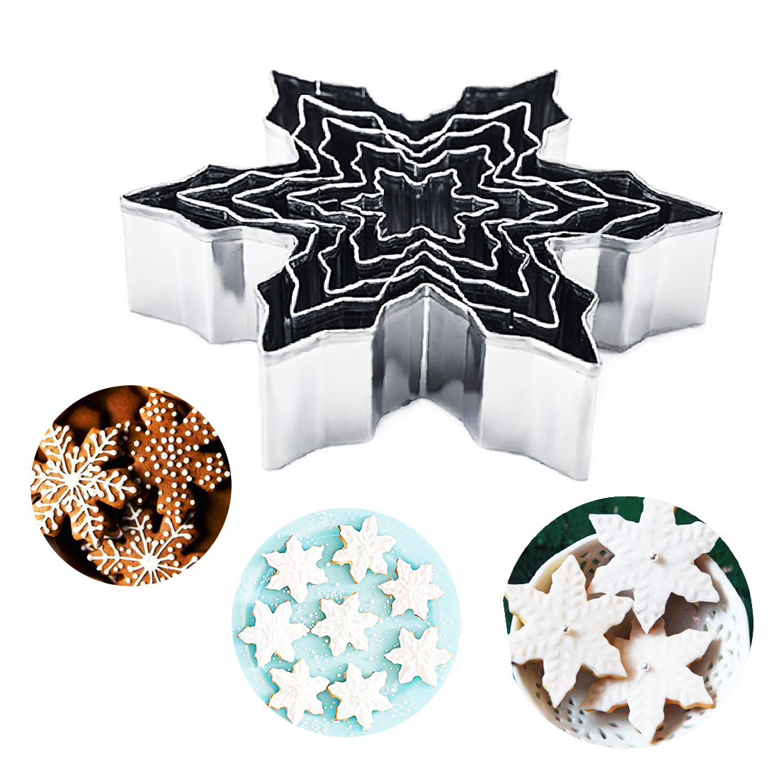Cookie Stamp 5pcs/set Snowflake Shape Stainless Steel Cake Mold 3D Cookie Cutter Fondant Cake Stencils Kitchen Baking Tools