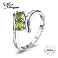 JewelryPalace Fashion 0 82ct Natural Peridot 2 Stone Engagement Rings For Women 100 925 Sterling Silver