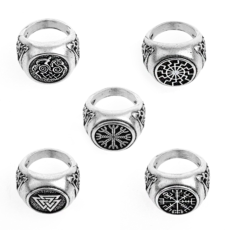 15 Collections Norse Vikings Rune Helm of Awe Ring Norde Vigisr Mens Ring Large Size