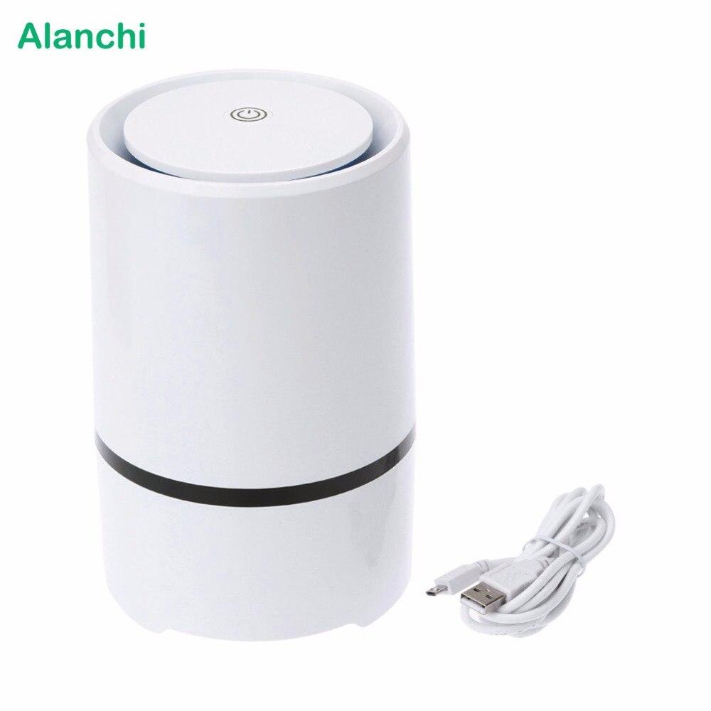 Alanchi Casa Purificador de Ar USB Mini Desktop Suporte Aroma Difusor Filtro de Ar filtro HEPA Ionizador Ventilador 1 pçs/lote