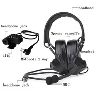 Tactical headset Comtac II active noise reduction Airsoft military + PTT plug for adapter U94
