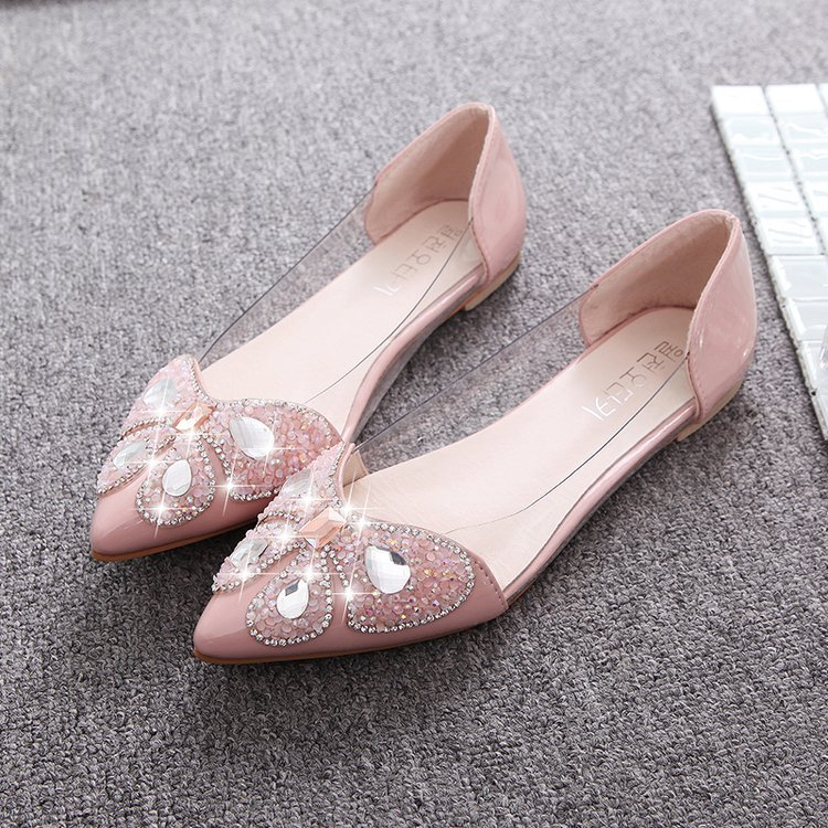 Koovan Women Flats 2018 New Spring Flat Shoes Pointed Soft Bottom Sexy Sandals Fashion Shoes Rhinestone Bows for Girls rhinestone bows necklaces and rings