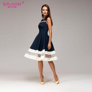 Image 2 - S. Lezzet bahar yaz kadın kolsuz elbise zarif Hollow Out Vestidos De Femme için plaj rahat Midi elbise 2020
