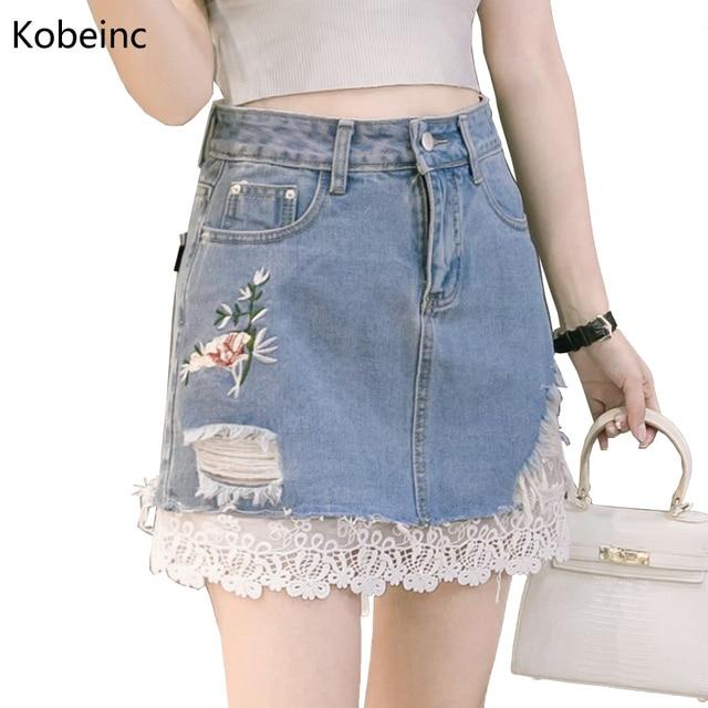 057bc163a Kobeinc Encaje Denim Parche Bordado de Cintura Alta Mujeres Faldas Moda  Falda Jeans 2017 Venta Caliente