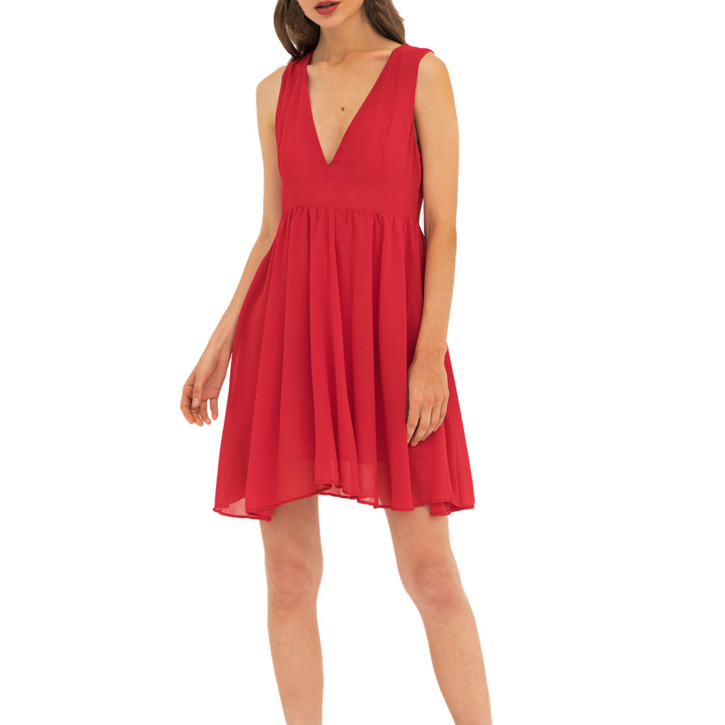 Womail Women Sexy V-Neck Solid Color Sleeveless Summer Beach Casual Polyester Material  Fashion New Dress Female 19APR22