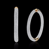 Luxury AAA Cubic Zirconia Micro Pave Setting Big 3 4cm Diameter Hoop Earrings Women S Accessories
