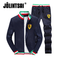 Jolintsai Sportwear Outono 2017 Terno Ocasional Dos Homens Plus Size 4XL Treino Conjuntos Sweatershirts Hoodies + Sweatpants Dos Homens Stand-collar