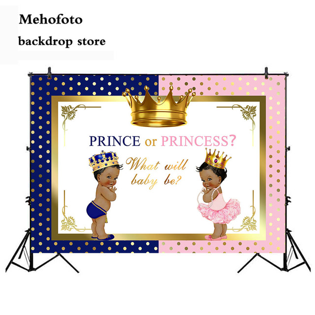 Mehofoto Boy and Girl Backdrop for Photography Prince or Princess Photo Background Royal Gold Crown Backdrops Prop Supplies 942