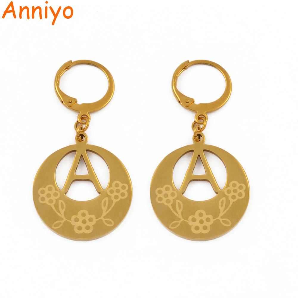 c9f811c76 Anniyo A-Z Gold Color Kiribati Initial Letter Earrings Women English  Alphabet Jewelry Gifts (More Letter