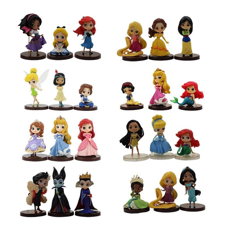 24 sztuk/partia księżniczka kopciuszek syrenka Ariel Belle Mulan Tiana roszpunka czarownica Q Posket księżniczka model figurki zabawki w Figurki i postaci od Zabawki i hobby na  Grupa 1