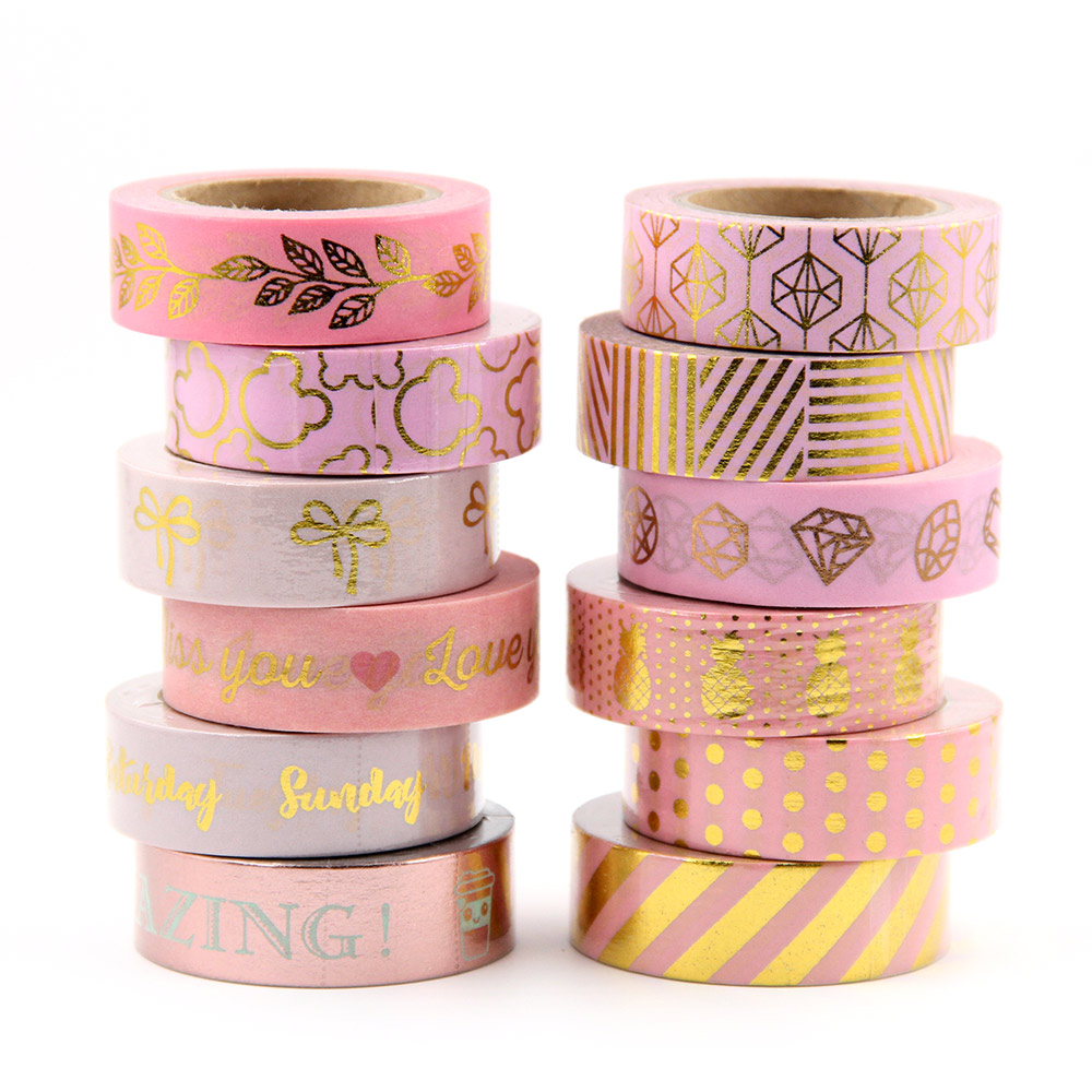 1X Full Golden Pink Foil Paper Washi Tape Set Japanese Scrapbooking Decorative Tapes Honeycomb For Photo Album Home Decoration