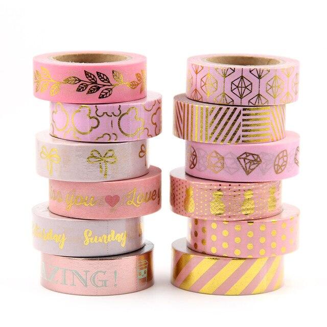1 x juego de cinta de Washi de papel de hoja de oro completo cinta decorativa de Scrapbooking japonesa panal para la decoración del hogar del álbum de fotos