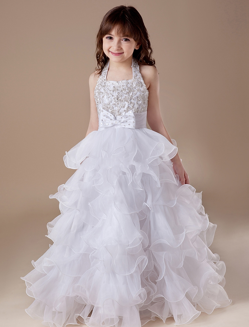 Custom Made Beaded Applique Halter Tiered Organza White Flower Girl