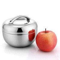 Doble Pared de Acero Inoxidable de apple Caja de picnic Lunch box con la manija Thermos Food Container 800 ml, 1l, 1.3l juego de Vajilla vajilla