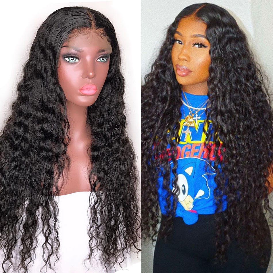 ALIBELE Hair Indian Water Wave Lace Front Human Hair Wig For Black Women 13x4 Pre Plucked