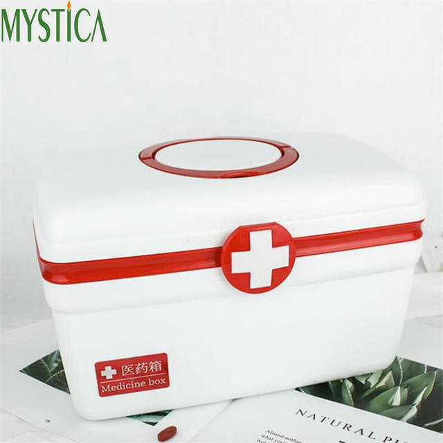 US $19 97 46% OFF|1PCS Multi layered Family First Aid Kit Box Medicine  Medical Storage Box Medical Plastic Drug Gathering Suitcase Organizer  Case-in
