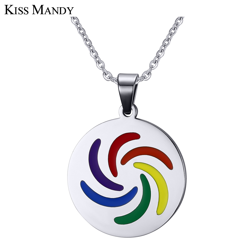KISS MANDY Silver Color Rainbow Series Necklace & Pendant for Men Classic Pendants Male Fashion Jewelry OTN107