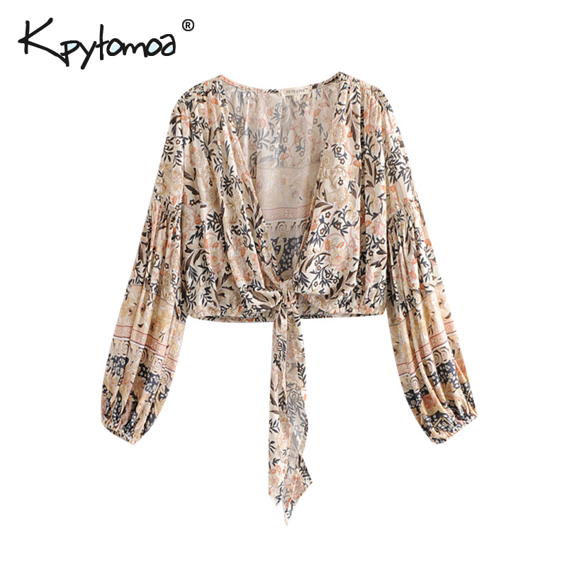 Boho Chic Summer Crop Tops Vintage Floral Print Kimono Women 2019 Fashion V Neck Bow Tie Beach   Blouses     Shirts   Blusas Mujer