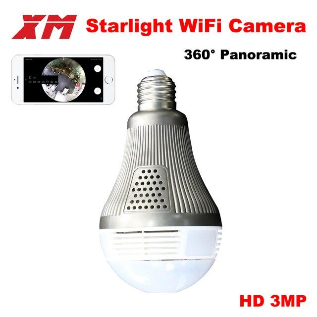 Panoramin Умный дом безопасности Wi-Fi 360 3.0MP VR Камера светодиодные лампы безопасности видеокамера обнаружения движения CCTV Поддержка Планшетные ПК телефон