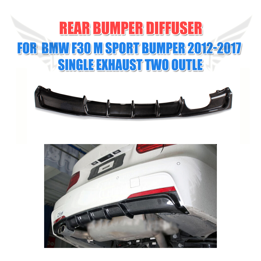 Carbon Firber /FRP Rear Diffuser Lip Spoiler Protector Exterior For BMW F30 M Sport bumper 2012-2017 single exhaust Two Outlet