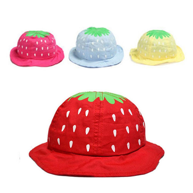 Lovely Baby Strawberry Sun Hat Comfortable Kid Toddler Girl Boy Cute Dot  Cap Hat for 1 f23f89340f3a