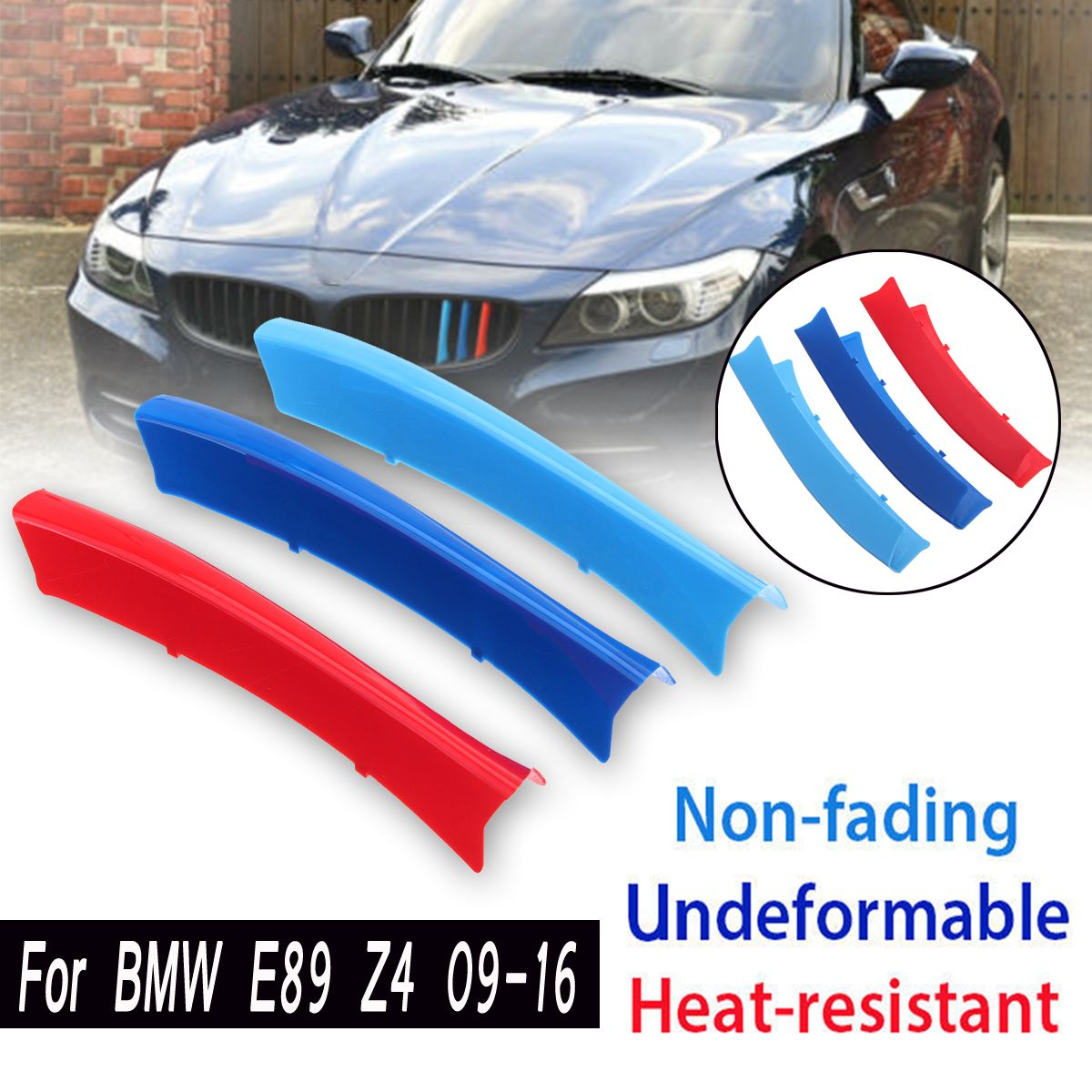 3D M Grill Strips For BMW E89 Z4 2009-2016 Car Front Grille Trim Sport Cover Motorsport Power Performance Stickers Kidney yatour for 12pin vw audi skoda seat quadlock yt m06 car usb mp3 sd aux adapter digital cd changer interface