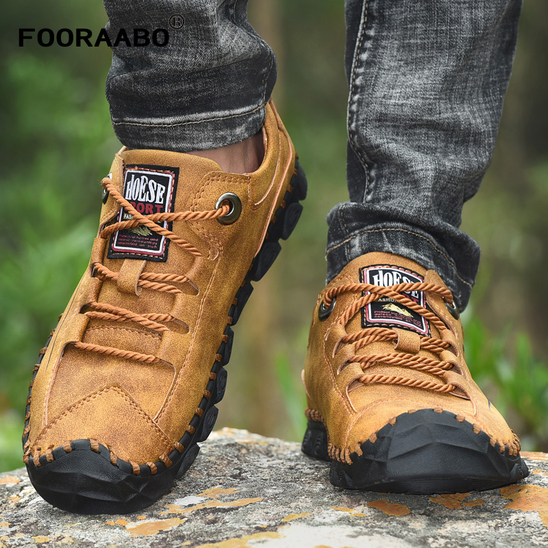 Men Leather Shoes 2019 Fashion Designer Breathable Lace Up Men's Sneakers Causal England Retro Style Trainers Shoes Flats 38-46