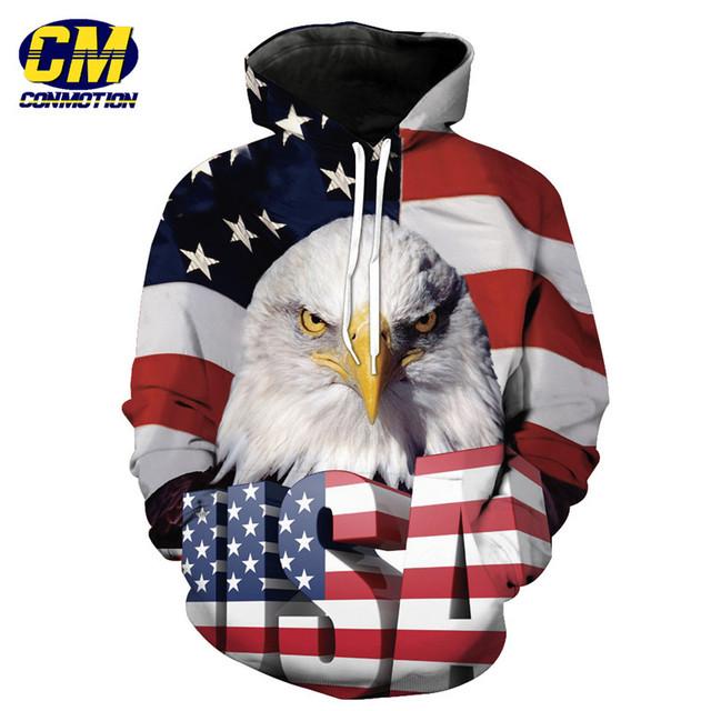 American Flag Eagle USA Letter Print Fashion Hooded Sweatshirt Neutral Pullover EUR SIZE