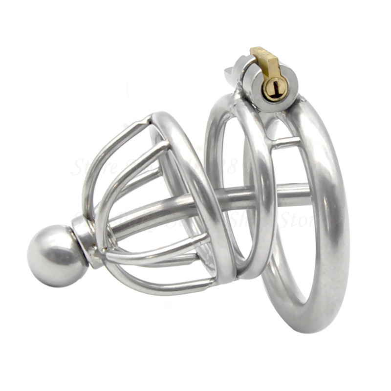 Male Chastity Device,Stainless Steel Cock Cage With Urethral Catheter Penis Ring,Penis Lock Adult Game Bondage Sex Toys For Men