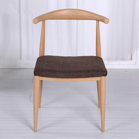 Mid Century Dining Chair With Fabric Upholstery Cushion Seat Beige Brown Solid Wood Dining Room Furniture