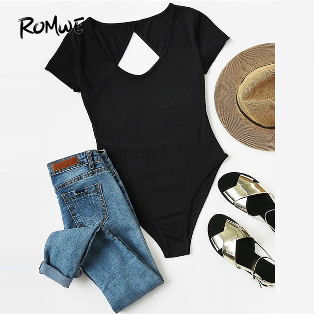 ROMWE Cut Out Open Back Bodysuit 2018 New Fashion Black Short Sleeve     ROMWE Cut Out Open Back Bodysuit 2018 New Fashion Black Short Sleeve Women  Clothing Summer Round