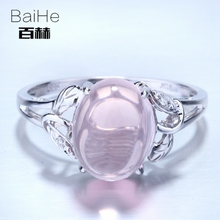 BAIHE Solid 14K White Gold(AU585) 2.87CT Certified Genuine Pink Quartz/Flawless Oval Wedding Women Trendy Fine Jewelry Ring
