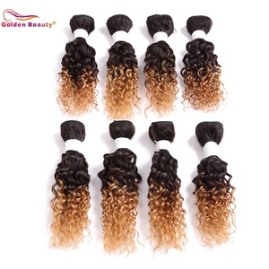 8-14inch Jerry Curl Synthetic Hair Weave Sew in Hair Extensions Ombre Hair Weft 8pcs/pack Golden Beauty