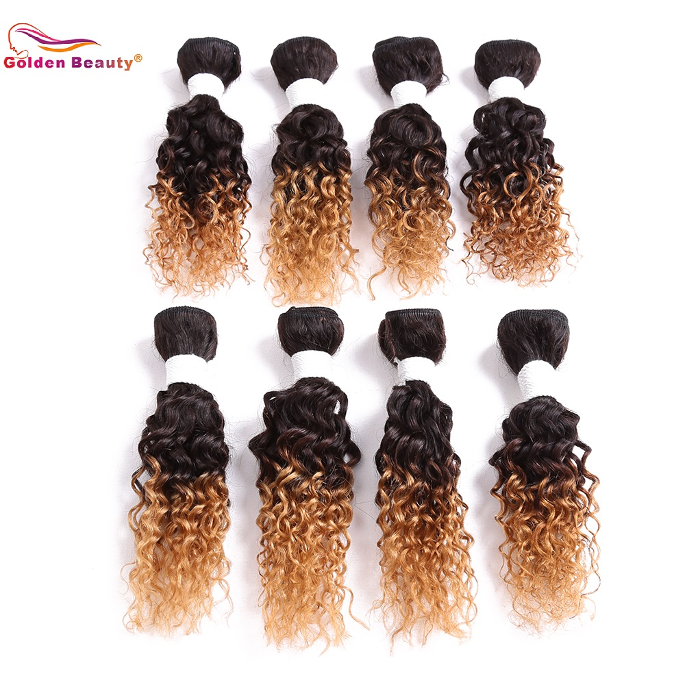 Weave Hair-Extensions Curl Synthetic-Hair Ombre 8-14inch Beauty Sew-In Jerry Golden 8pcs/Pack title=