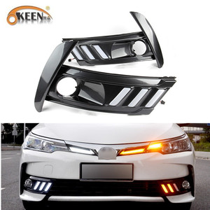 OKEEN 12v LED Daytime Running Light For Toyota Corolla 2017 2018 Waterproof ABS Fog Lamp Cover with Yellow Turn Signal Lights