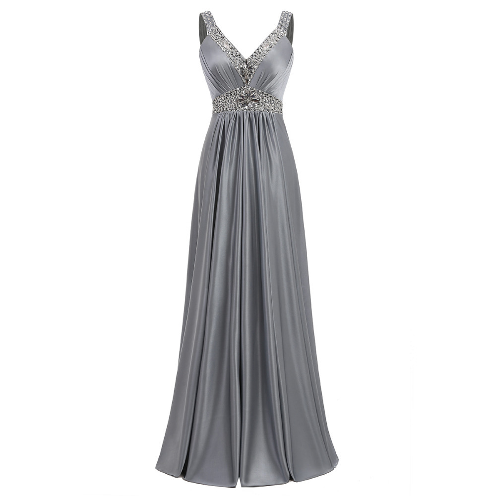 Holievery Beaded V Neck Satin   Bridesmaid     Dresses   Long 2019 Floor Length Formal Gowns Lace Up Wedding Party   Dress   Gray
