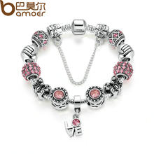 BAMOER Silver Color European Pink Zircon Friendship Bracelet for Women with Butterfly Beads LOVE Pendant & Safety Chain PA1495(China)