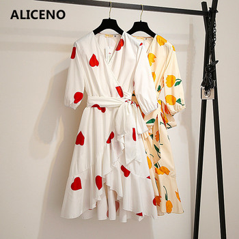 ALICENO 2019 Summer Big Size 100-150KG WEAR Waist with Sashes V-Neck Flower Print Women Casual Dress Half Sleeve Mini Dress